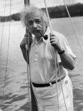 Prof. Albert Einstein on His Sailboat at Saranac Lake in the Adirondacks Premium Photographic Print