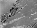 American Navy Torpedo Bombers Fly over Burning Japanese Ship During the Battle of Midway Photographic Print