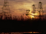 Oil Derricks at Sunset at Baku, Azerbaijan, USSR Premium Photographic Print by Stan Wayman