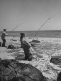 Two Men Fishing Off Montauk Point Premium Photographic Print by Alfred Eisenstaedt