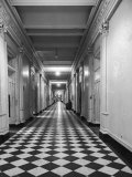 One of the Long Corridors in the State Dept. Building with a Messenger Desk Out in the Hall Premium Photographic Print by Alfred Eisenstaedt