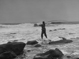 Man Fishing Off Montauk Point Premium Photographic Print by Alfred Eisenstaedt