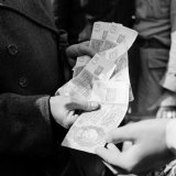 Citizens Waiting in Line to Convert Reich Mark to Deutsche Mark After Russian Blockade of Berlin Photographic Print by Walter Sanders