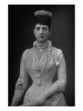 Portrait of Queen Alexandra of England, Wearing Crown, Diamond and Pearl Necklaces, White Gown Photographic Print by W. And D. Downey