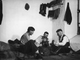 Trio of Czech Peasants Playing Cards in the Season Workers House on the Anyala Farm Reproduction photographique sur papier de qualité par Margaret Bourke-White