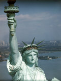 Tourists Looking Out from the Statue of Liberty Crown Photographic Print by Ralph Morse