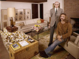 Singer David Crosby Standing with His Father Floyd in Father's House Premium Photographic Print by John Olson