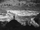Man Standing in Hell's Canyon, a Gorge of the Columbia River, on the Border of or and Id Premium Photographic Print by Alfred Eisenstaedt