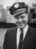 Pres. of Teamsters Union Jimmy Hoffa Sporting Driver's Cap of Be-Mac Transport Co Premium Photographic Print by Hank Walker