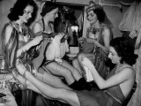 Showgirls Knitting Garments During Drive to Provide Goods to Servicemen During the War Photographic Print