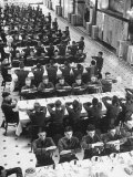 Students in Mess Hall at Culver Military Academy Holding Arms Crossed in Front of Them Photographic Print by Alfred Eisenstaedt