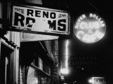 Signs for Reno Rooms, Silver Dollar Club, and Cafe at Night, for Workers of Grand Coulee Dam Premium Photographic Print by Margaret Bourke-White