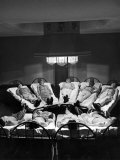 9 Male Tuberculosis Patients Soak Up UV Rays from Carbon-Arc Lamps, Will Rogers Memorial Hospital Premium Photographic Print by Alfred Eisenstaedt