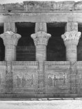 Columns and Carvings Along Wall of Temple at Denderah Premium Photographic Print by Eliot Elisofon