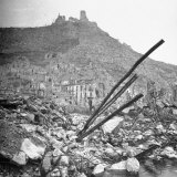 Blasted Ruins of the Town, with the Destroyed Monastery Atop Monte Cassino in the Background Photographic Print by George Silk