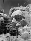 Scaffolding around Head of Abraham Lincoln, Partially Sculptured During Mt. Rushmore Construction Photographic Print by Alfred Eisenstaedt