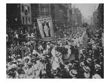 Suffragette Demonstration with Women Carrying Wands Tipped with Silver Broad-Arrows and Banner Photographic Print