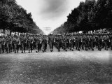 American Troops of 28th Infantry Division Marching Down Champs Elysees in Victory Parade Premium Photographic Print by Poinsett
