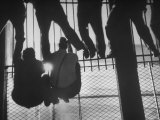 Fans Climbing a Fence at the Polo Grounds in Order to See Boxing Match Premium Photographic Print by Yale Joel