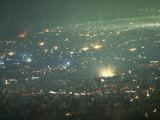 Long Exposure of Huge Night Time Crowd, Showing Lights All Over, Woodstock Music and Art Fair Fotografisk trykk av John Dominis