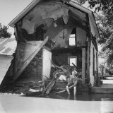 Shell of a House Destroyed by Flood Photographic Print by Francis Miller