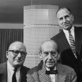 Builder Emory Roth, Erwin Wolfson, and Architect Walter Gropius with Grand Central Building Model Premium Photographic Print by Andreas Feininger