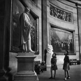Two Girl Scouts Looking Up at Marble Statue of Abraham Lincoln, Rotunda of the Capitol Building Photographic Print by Alfred Eisenstaedt