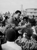 Boxer Muhammad Ali with Fans before Bout with Joe Frazier Premium Photographic Print by John Shearer