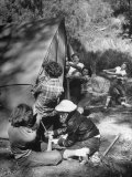 Putting Up a Tent, Some Junior High Girl Scouts Working Toward Camp Craft Badge Premium Photographic Print by Ed Clark