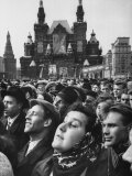 Red Square Celebration in Honor of Cosmonaut Yuri Gagarin, First Human to Orbit the Earth Premium Photographic Print by James Whitmore