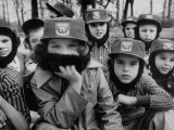 Kids Wearing Fidel Castro Caps and Beards Premium Photographic Print by Ralph Morse