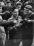 Budapest Boys Carrying Rifles to Fight with Hungarian Freedom Fighters Against Soviet-Backed Regime Premium Photographic Print by Michael Rougier