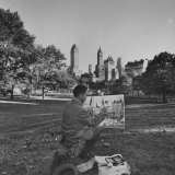 Dong Kingman Painting Watercolor in Central Park Premium Photographic Print by Bob Gomel