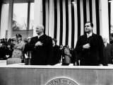 Pres. Dwight D. Eisenhower and Vice Pres. Richard M. Nixon, Watching the Inauguration Parade Premium Photographic Print by Ed Clark