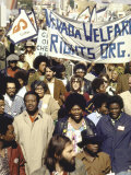 Actress Jane Fonda and Ralph Abernathy Joining Together for a Welfare Rights March Premium Photographic Print by Bill Ray