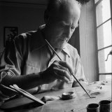 Artist Lyonel Feininger at Work Premium Photographic Print by Andreas Feininger