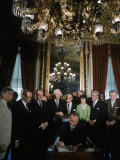 President Lyndon Johnson Signing Voting Rights Bill Premium Photographic Print by Stan Wayman