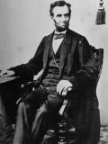 President Abraham Lincoln Sitting in a Chair Premium Photographic Print