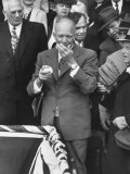 Pres. Dwight D. Eisenhower, Applying a Wet Whammy to First Official Baseball of Washington Season Photographic Print by George Skadding
