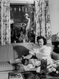 Mrs. Gene Autry Pouring Cup of Tea in Cheerful Living Room of the Autry's Melody Ranch Premium Photographic Print by Loomis Dean