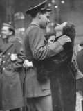 Soldier Saying Goodbye to Girlfriend at Pennsylvania Station before Returning to Duty, WWII Premium Photographic Print by Alfred Eisenstaedt