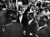 Reverend Martin Luther King Jr. with Freedom Riders Boarding Bus for Jackson Premium Photographic Print by Paul Schutzer