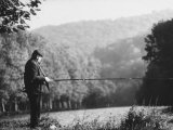 Fisherman on Banks of European Waterway Premium Photographic Print by Pierre Boulat