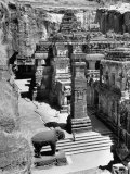 People Walking Through and Admiring the Defined and Detailed Kailasa Temple Premium Photographic Print by Eliot Elisofon
