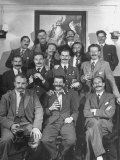 Members of Handlebar Club Posing for Photograph Premium Photographic Print by Nat Farbman