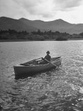 Boatman Who Can Be Hired Out at $2 Per Day to Take Fishermen Out around the Moars of Ross Castle Premium Photographic Print by Hans Wild