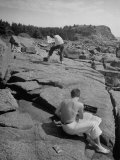 Students from the Monhegan Art School Painting Maine Coastline Premium Photographic Print by Eliot Elisofon