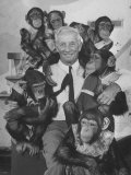 Zoo Director, George P. Vierheller, Visiting His Performing Chimps Premium Photographic Print by Wallace Kirkland