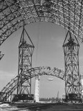 Blimp Hangar under Construction Premium Photographic Print by Andreas Feininger