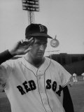 Red Sox Player Ted Williams Suited Up for Playing Baseball Metal Print by Ralph Morse
